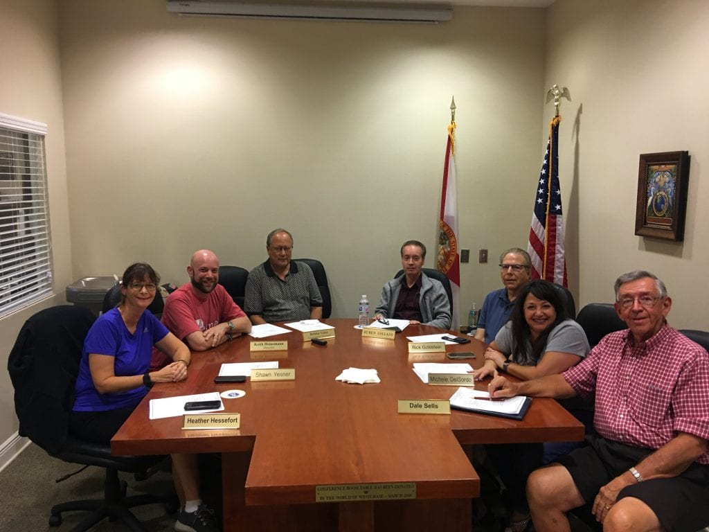 With the resignation of Director Rick Goldstein, second from right, the WCA Board has an open seat. Pictured from a September meeting are Heather-Greeley Hessefort, Shawn Yesner, Keith Heinemann, Ruben Collazo, Goldstein, Michele Del Sordo and Dale Sells.